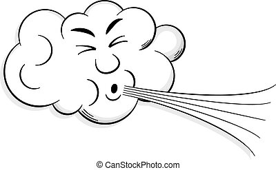 wolke, schläge, karikatur, wind