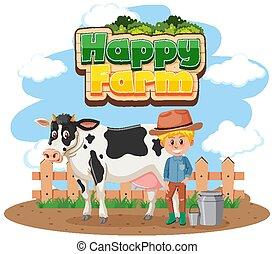 wort, glücklich, kuh, bauernhof, schriftart, landwirt, design