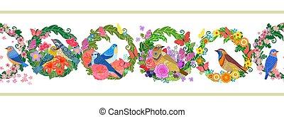 wreaths., fliegendes, blumen-, vögel, seamless, horizontal, umrandungen