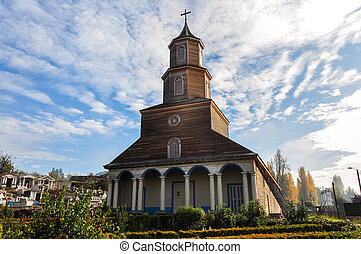 Wunderschöne farbige und hölzerne Kirchen, Chiloé Insel, Chile.