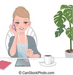 Wunderschöne Frau am Telefon mit Touchpad