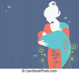 Wunderschöne Mutter Silhouette mit Baby im Schleudern und Blumen Hintergrund