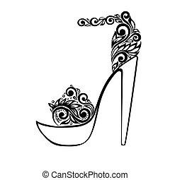 Wunderschöne Sandalen, mit schwarzem und weißem Blumenschmuck dekoriert