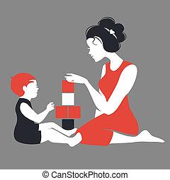 Wunderschöne Silhouette von Mutter und Baby, die mit Spielzeug spielen. Alles Gute zum Muttertag