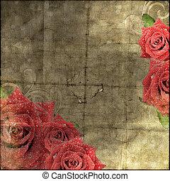 Wunderschöner alter Papier Hintergrund mit Rosensilhouette