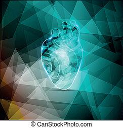 Wunderschöner Kardiologie-Hintergrund, abstrakte menschliche Herzanatomie.
