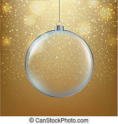 Xmasball mit goldenem Hintergrund.