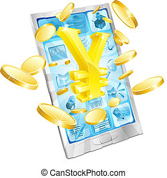 Yen-Geld-Telefon-Konzept