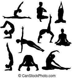 Yoga posiert Silhouette