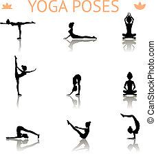 Yoga Silhouette Posen.