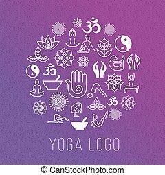 Yoga Symbole in runder Etikettenform. Vector Meditation und spirituelle, Harmonie Gesundheitskonzept