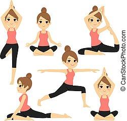 Yoga verschiedene Posen Frau.
