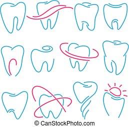 Zähne, Zahnsymbole auf weißem Hintergrund. Kann als Logo für Zahn-, Zahnarzt- oder Fachklinik verwendet werden