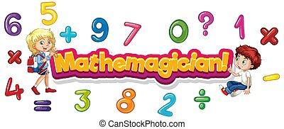 zahl, mathemagician, design, kinder, schriftart, wort