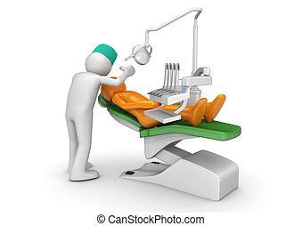 zahnärztlicher stuhl, patient, zahnarzt