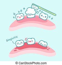 zahn, karikatur, bürste, gingivitis