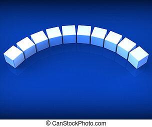Zehn leere Würfel zeigen Kopien für zehn Buchstaben