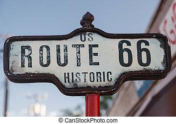 Zeichen der historischen Route 66.