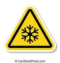 zeichen, eps.10, symbol, schneeflocke, abbildung, isolieren, weißes, vektor, warnung, hintergrund, dreieck