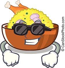 zeichen, gekocht, biryani, huhn, küchenpfanne, honigraum, kühl