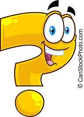 zeichen, glücklich, fragezeichen, karikatur, gelber , sprechende