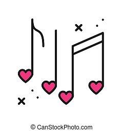 zeichen, glücklich, tag, icon., herzen, linie, notizen, nachtleben, symbol., musik, klub, party, theme., tanz, valentine, disko