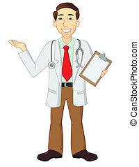zeichen, karikatur, doktor