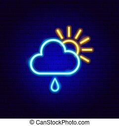 zeichen, sonne, wolke, regen, neon