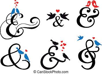 zeichen, vektor, vögel, et-zeichen