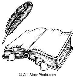 Zeichnung des offenen Buches mit Feder.