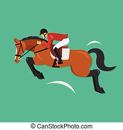 Zeig Springpferd mit Jockey.