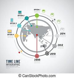 Zeitlinie Infographic World Vektor Design Vorlage.