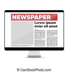 Zeitung auf dem Bildschirmcomputer.