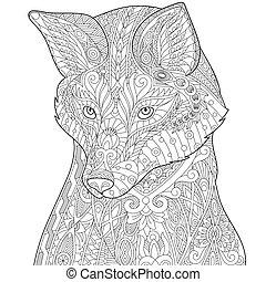Zentangle stilisierter Fuchs