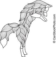 Zentangle Vektorsprung Fuchs