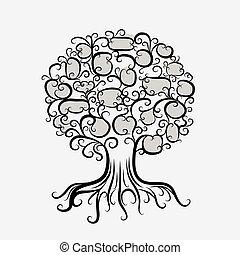 Zierbaum mit Wurzeln für dein Design