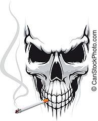 zigarette, totenschädel
