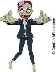 zombie, geschäftsmann