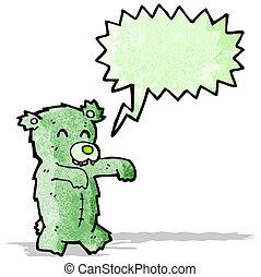 zombie, karikatur, bär, teddy