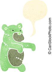 zombie, karikatur, retro, bär, teddy