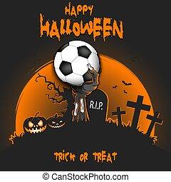 zombie, kugel, fußball, halloween., hand, glücklich