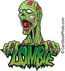 zombie, logo, design, karikatur, maskottchen