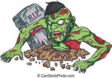 zombie, maskottchen, design, schrecklich, karikatur