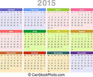 zuerst, jährlich, (monday, english), jahr, 2015, kalender