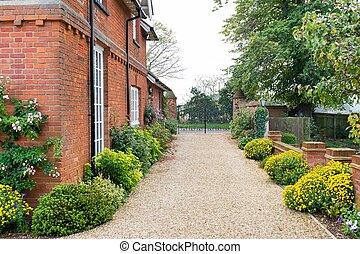 zufahrt, kleingarten, vereinigtes königreich, englisches , haus
