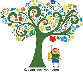 Zurück zur Schule - Baum mit Bildungs-Ikonen