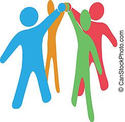 zusammenarbeiten, beitreten, leute, hände, zusammen, mannschaft