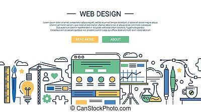 zusammensetzung, banner, elemente, design, website, tools., linie, infographics, wohnung, stelle., dein, abbildung, modern, kopfsprung, entwicklung