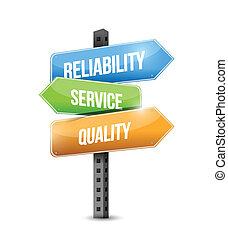 zuverlässigkeit, qualität, abbildung, service, zeichen