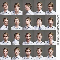 Zwanzig Porträts eines Mannes mit unterschiedlichen Ausdrucken
